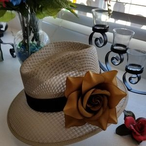 ... Ladies Viejo Khaki w Brown Rose Hat ... d5cf073f1db4